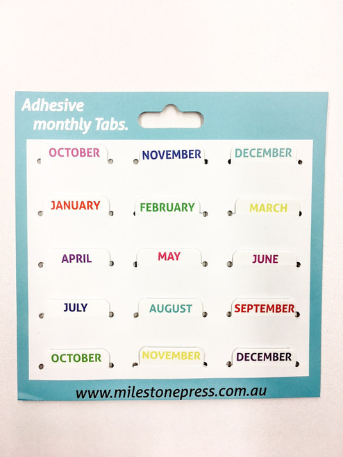 Monthly Adhesive Tabs - White with Colour Months