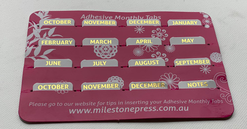 Monthly Adhesive Tabs - White with Gold Months