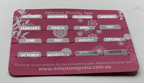 Monthly Adhesive Tabs - White with Silver Months