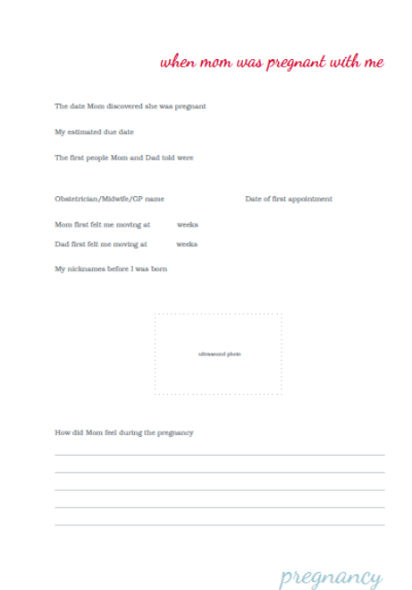 A Book About Me Mom Pages - 2015 Version