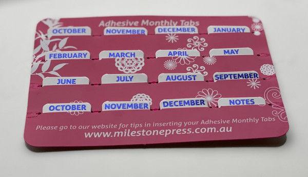 Monthly Adhesive Tabs - White with Navy Months
