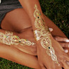 Flash Metallic gold/silver tattoo stickers - Model 001