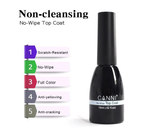 Canni UV/Led Top Coat 15ml (Non-cleansing)