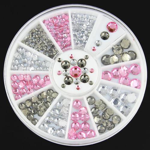White, Pink & Grey Rhinestones