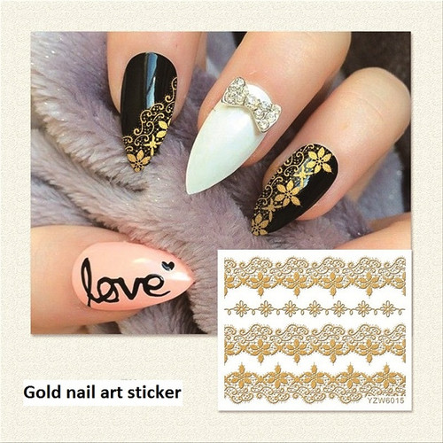 3D Gold Nail Art Decal Stickers