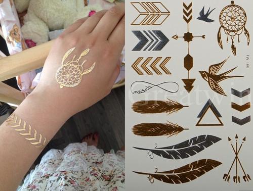 Flash Metallic gold/silver tattoo stickers - Model 003