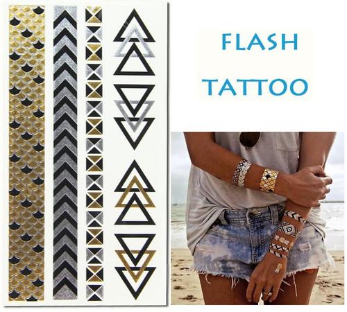 Flash Metallic gold/silver tattoo stickers - Model 004