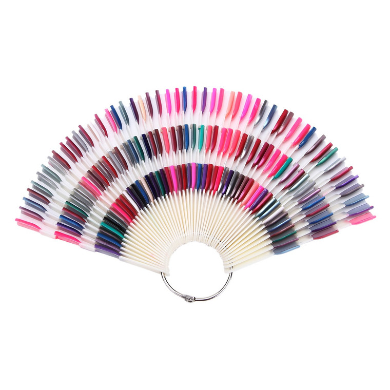 150 pcs Nail Art Fan Shape Display Chart With Removable Ring