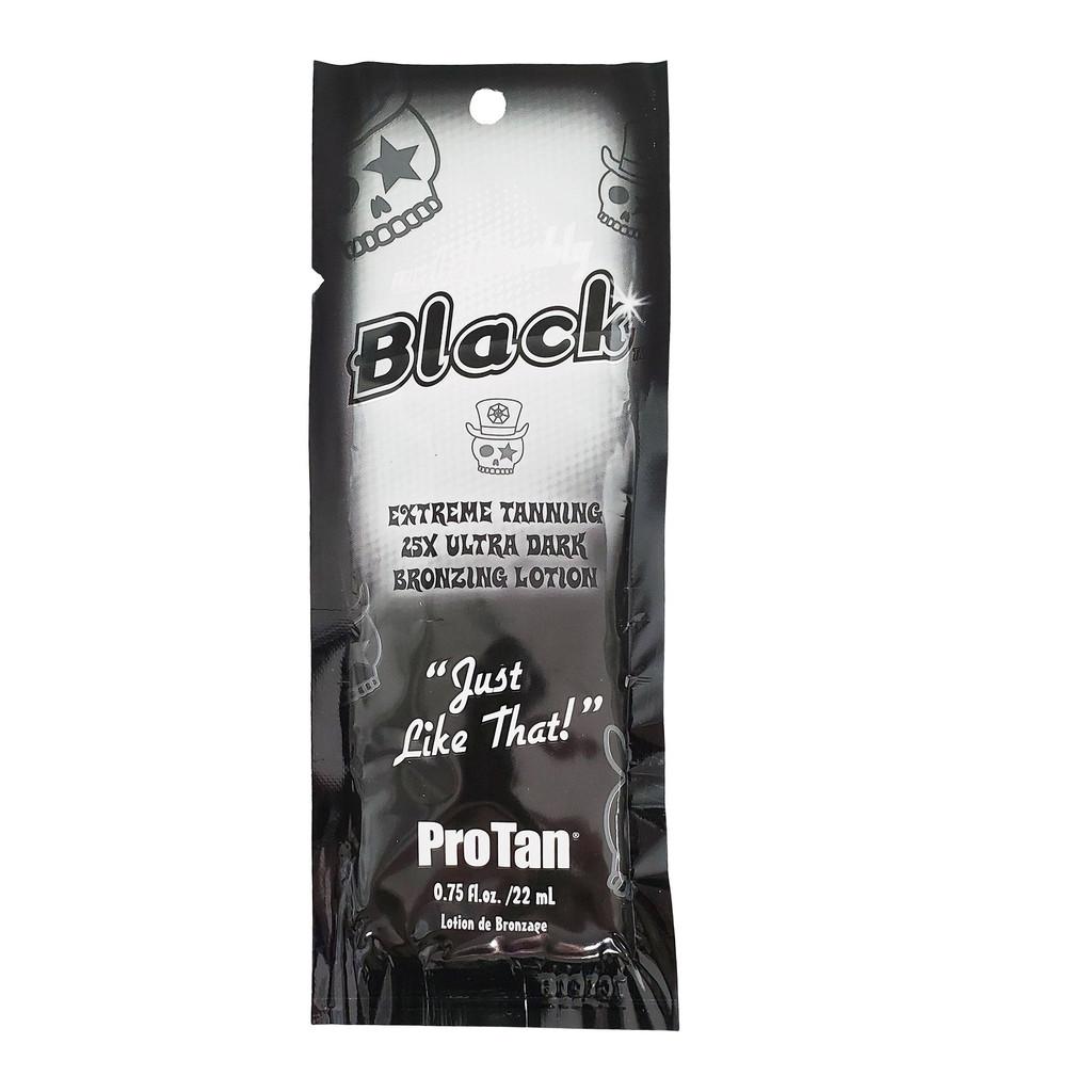 Pro Tan UNBELIEVABLY BLACK 25x Dark Bronzing Lotion .75 oz. Packet