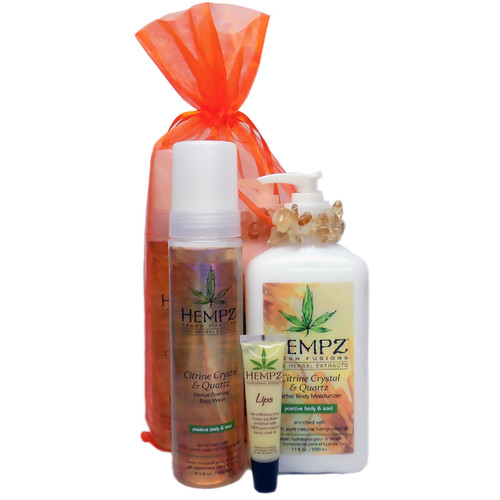 Hempz CITRINE CRYSTAL & QUARTZ GIFT SET - 3 Pc. (CITRINE CRYSTL & QRTZ KIT)