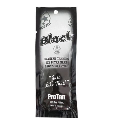Pro Tan UNBELIEVABLY BLACK 25x Dark Bronzing Lotion .75 oz. Packet