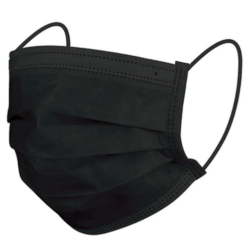 Small Size Black Ear-Loop Face Masks (50 Count) - Front View of Mask - HoMedics Canada
