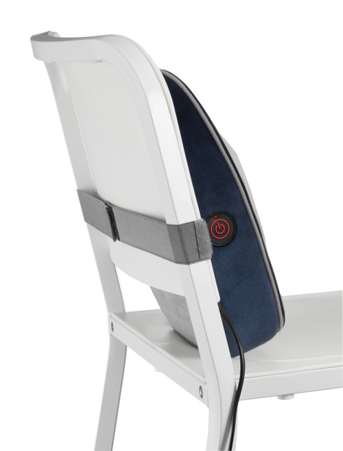 Navy | Double Duty Shiatsu Massager with Soothing Heat - Strapped to Chair for Use