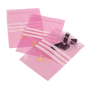Electrostatic Dissipative Pink Bags (Zip Top) (100/Pack) ESD (G-SPZB)