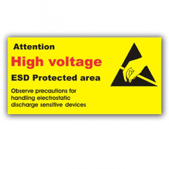 Attention High Voltage Awareness Sign ESD