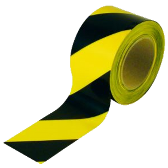 Yellow and Black Hazard Marking Tape W 50mm x L 33 Metres