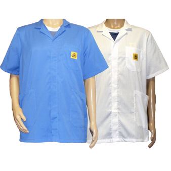 STANDARD ESD Lab Jackets - Short Sleeve - BLUE or WHITE