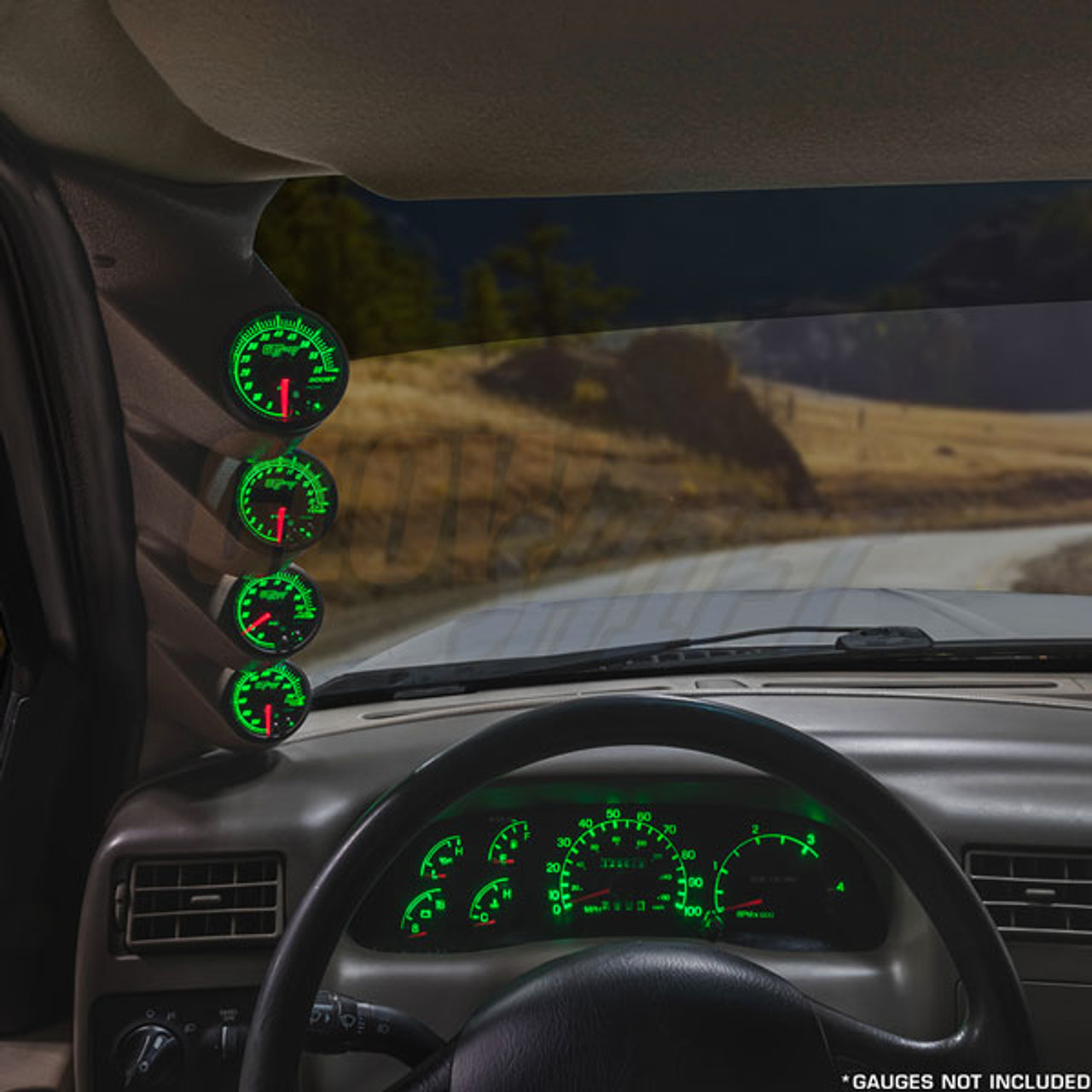 Gauges to Truck A-Pillar 52mm ABS Plastic 2-1//16 Factory Color Matched 3 GlowShift Gray Triple Pillar Gauge Pod for 1999-2007 Ford Super Duty F-250 F-350 Power Stroke UV Protected Mounts