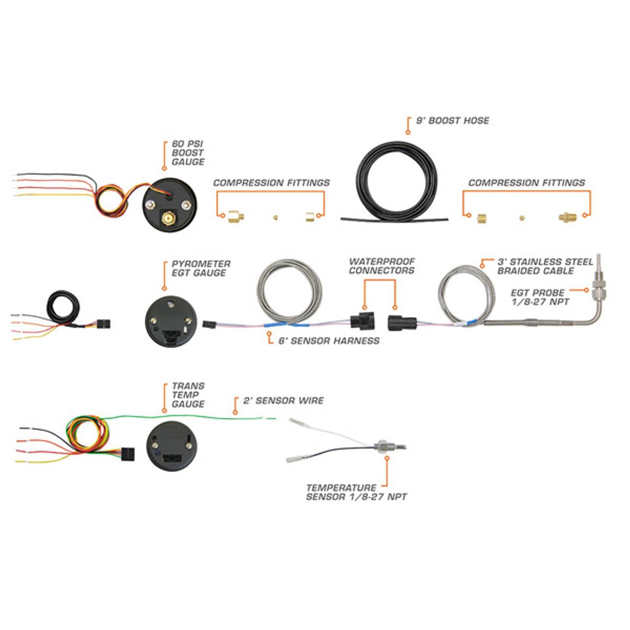 GlowShift Tinted 7 Color Diesel Gauge Set Boost, Pyrometer, Trans Temp