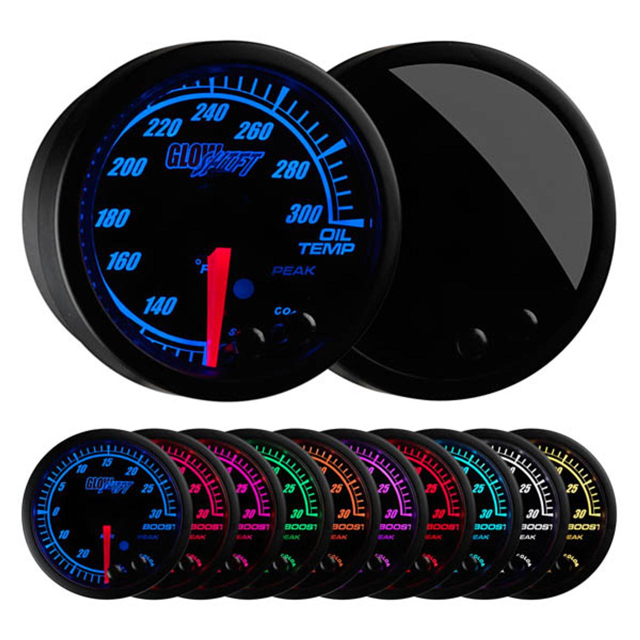 Glowshift Elite 10 Color Oil Temperature Gauge