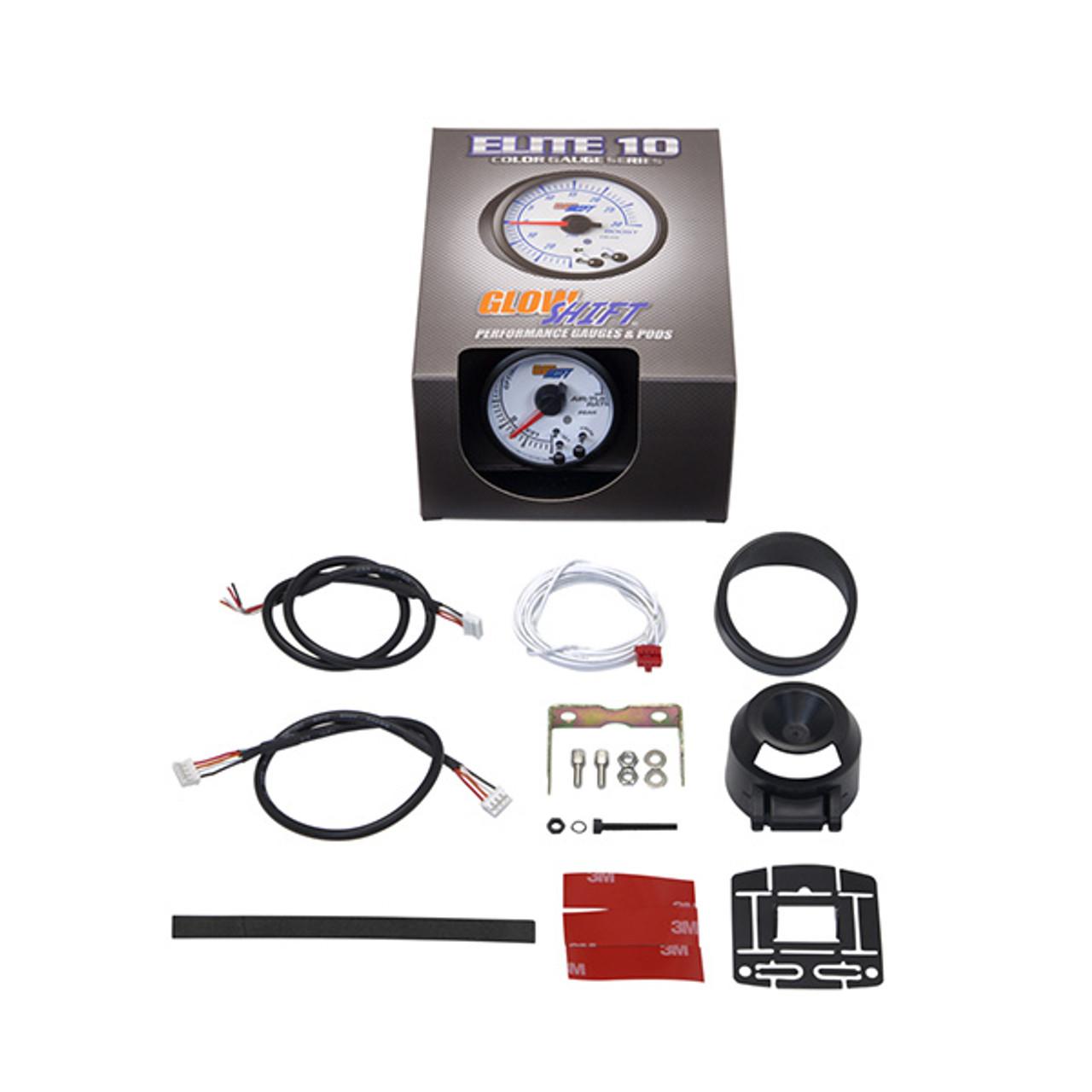 GlowShift White Elite 10 Color Air/Fuel Ratio Gauge
