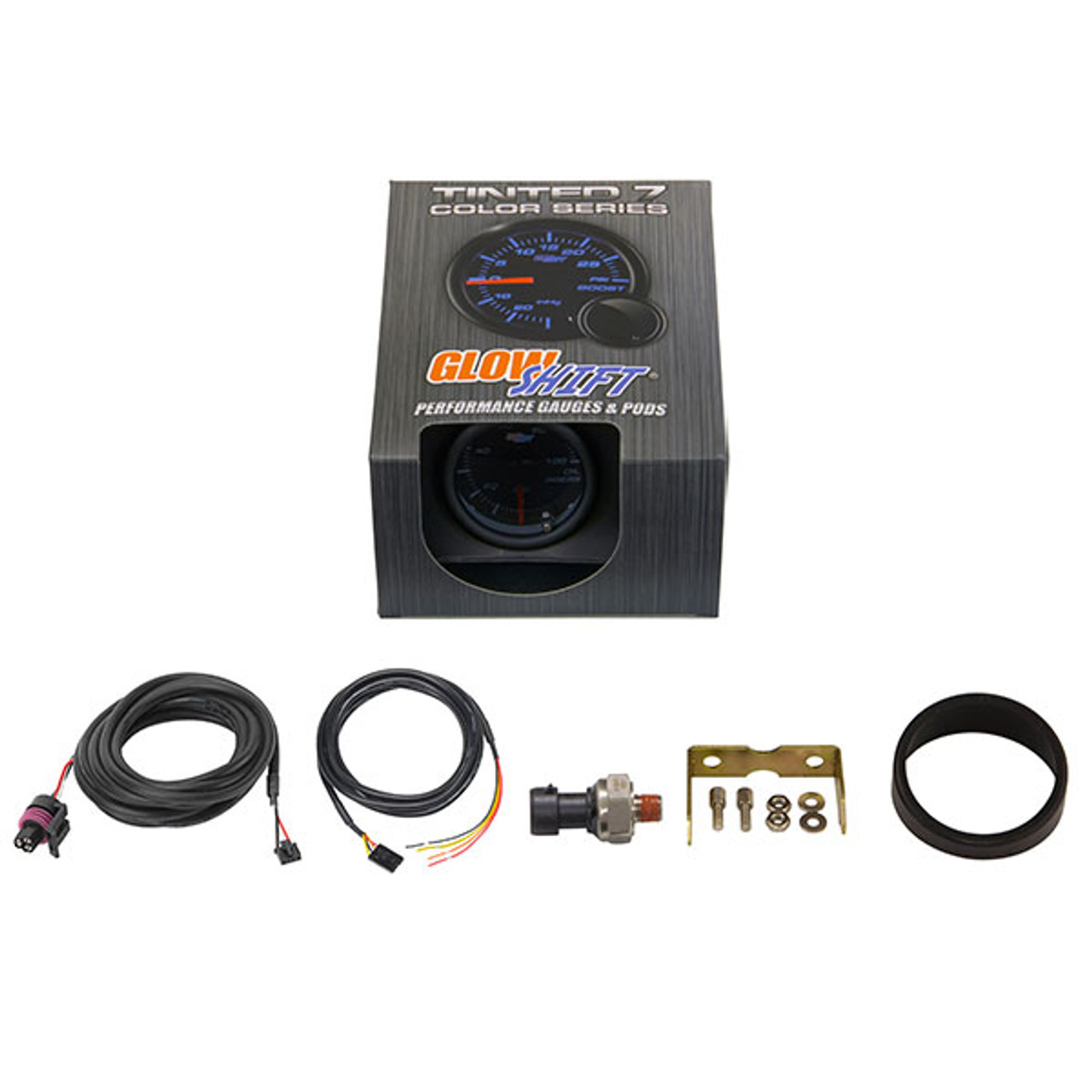 Includes Electronic Sensor 2-1//16 52mm GlowShift Tinted 7 Color 100 PSI Oil Pressure Gauge Kit Smoked Lens Black Dial For Car /& Truck