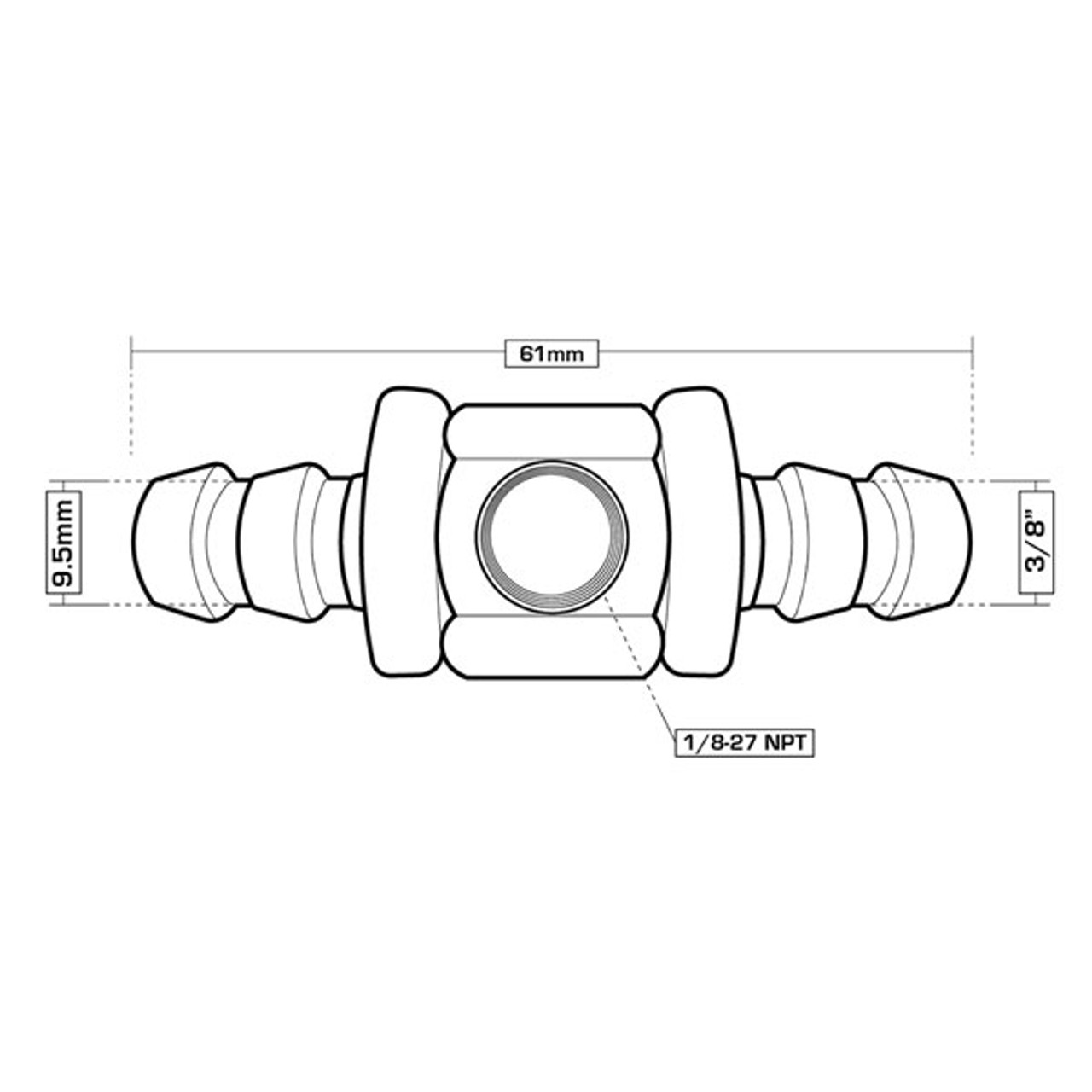 "GlowShift 3//8/"" Fuel Line Fuel Pressure T-Fitting Adapter GlowShift Gauges GS-FA-FLA-38"
