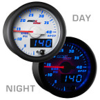 White & Blue MaxTow 4,000 PSI HPOP Gauge Day/Night View