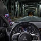 2008-2015 Mitsubishi Lancer Evolution X Gray Triple Pillar Pod Installed