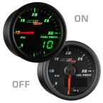 Black & Green MaxTow 30 PSI Fuel Pressure Gauge On/Off View