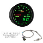 Black & Green MaxTow 1500 F Pyrometer EGT Gauge with 1/8-27 NPT EGT Probe