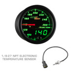 Black & Green MaxTow Transmission Temperature Gauge with 1/8-27 NPT Electronic Temperature Sensor