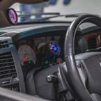 Universal Single Gauge Swivel Dashboard Pod Installed to Steering Column