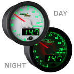 White & Green MaxTow Wideband Air/Fuel Ratio Gauge Day/Night View