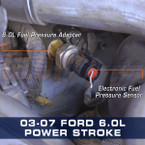 Ford 6.0L Power Stroke Fuel Pressure Thread Adapter Installed
