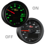 Black & Green MaxTow 30 PSI Boost/Vacuum Gauge On/Off View