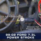 Ford 7.3L Power Stroke Fuel Pressure Thread Adapter Installed