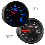 Black & Blue MaxTow 30 PSI Boost/Vacuum Gauge On/Off View