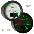 White & Green MaxTow 35 PSI Boost Gauge Day/Night View