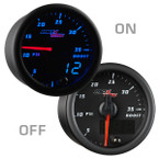 Black & Blue MaxTow 35 PSI Boost Gauge On/Off View