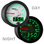 White & Green MaxTow 10,000 RPM Tachometer Gauge Day/Night View