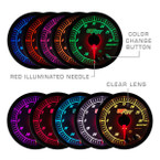 Included Colors with White Elite 10 Color Gauge Series - Blue, Green, Red, Yellow, White, Light Blue, Purple, Pink, Orange, and Amber