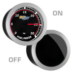 GlowShift Tinted 30 PSI Fuel Pressure Gauge On/Off View