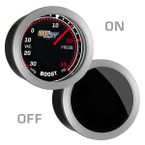 GlowShift Tinted 30 PSI Turbo Boost/Vacuum Gauge On/Off View