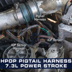 High Pressure Oil Pressure HPOP Gauge Wiring Harness Installed to 7.3L Power Stroke