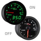 "Black & Green MaxTow 2"" Tachometer Gauge On/Off View"
