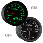 "Black & Green MaxTow 2"" Tachometer Gauge On/Off View"