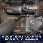 Boost Gauge Bolt Thread Adapter for 6.7L Cummins Installed