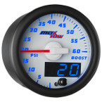 White & Blue MaxTow 60 PSI Boost Gauge