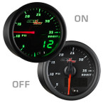 Black & Green MaxTow 35 PSI Boost Gauge On/Off View